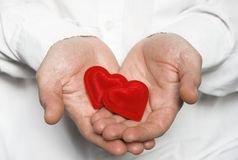 Hand holding hearts / Valentine Royalty Free Stock Photography