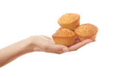 Hand holding heartshape cakes Stock Image
