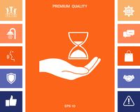 Hand holding Hourglass. Signs and symbols for your designt stock illustration