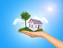 Hand holding house on green grass with tree, solar. Hand holding house on green grass with tree, wind turbine and solar panels. Background clouds and blue sky royalty free stock images