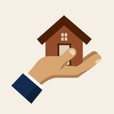 Hand holding a house, insurance service vector icon Royalty Free Stock Photo