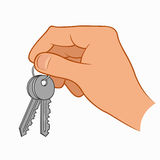 Hand holding house keys. Illustration of a hand holding house keys isolated on a white background Stock Photo