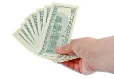 Hand holding hundred dollar notes Royalty Free Stock Images