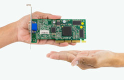 Free Hand Holding IC Chip. Royalty Free Stock Photo - 96016305
