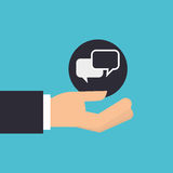 hand holding icon bubble speech design isolated Stock Photography