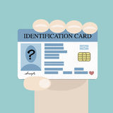Hand holding id card. Illustration of hand holding the id card Stock Photography