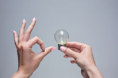 Hand holding an incandescent light bulb on gray background Royalty Free Stock Photo