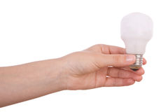 Hand holding an incandescent light bulb Stock Photos