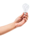 Hand holding an incandescent light bulb isolated on white backgr Royalty Free Stock Photos