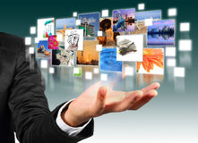 Hand holding with  industry image. Business man hand holding with  industry image and buildings image flyer Stock Images
