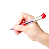 Hand holding ink pen Royalty Free Stock Photo