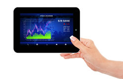 Hand holding ipad with stock market chart Stock Images
