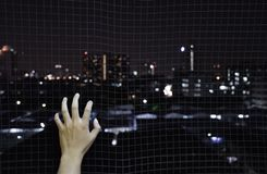 Hand holding on iron net cage want to go the city background stock photo