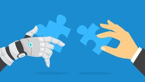 Hand holding jigsaw puzze piece. Idea of solution. And success. Partnership and cooperation. Artificial intelligence and modern technology. Flat vector vector illustration