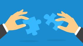 Hand holding jigsaw puzze piece. Idea of solution. And success. Partnership and cooperation. Flat vector illustration vector illustration