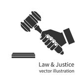 Hand holding judges gavel icon. Stock Photos