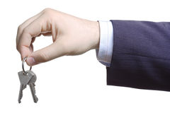 Hand holding keys stock images