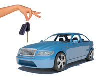 Hand holding keys and blue car Stock Photos