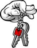 Hand Holding Keys in Fingers Cartoon. Cartoon Hand with Car or House Keys Cartoon Image Royalty Free Stock Photography