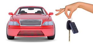 Hand holding keys and red car Royalty Free Stock Images