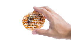 Hand holding Khao Tan, classic Thai snack Royalty Free Stock Photos