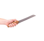 Hand is holding a kitchen knife Royalty Free Stock Photo