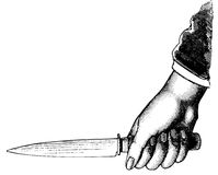 Hand holding a knife Stock Images