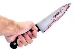 Hand holding a knife with Dripping blood Stock Images