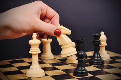 Hand holding knight. Hand holding white chess knight on chessboard Royalty Free Stock Photo