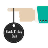 Hand holding label of black friday. Concept of annual big sales. isolated on white background. flat design style modern vector illustration Royalty Free Stock Image
