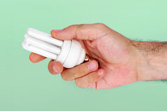 Hand holding lamp Stock Photography