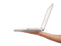 Hand holding laptop Stock Photos