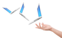 Hand holding laptop Royalty Free Stock Image