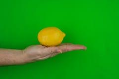 Hand holding lemon on green. A closeup studio view of a human hand holding a whole, yellow lemon Stock Photography