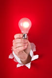 Hand holding light bulb Stock Photography