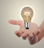 Hand holding light bulb with business concept inside stock illustration