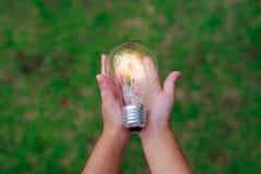 Hand holding a light bulb. Stock Photo