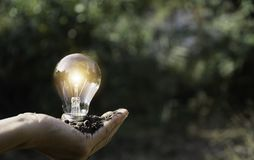 Hand holding a light bulb. Energy saving light bulb. Innovation and creative concept.  royalty free stock images