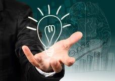 Hand holding light bulb illustration idea. Stock Photo
