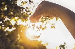 Hand holding light bulb with sunset, concept use alternative ene. Rgy for save world Stock Photography