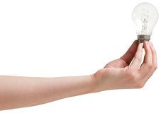 Hand holding light bulb Stock Photos