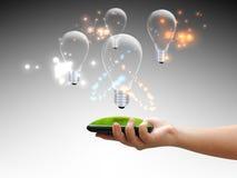 Hand holding lightbulb. Eco concept Royalty Free Stock Image