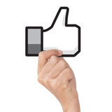 Hand holding like icon on white with clipping path Royalty Free Stock Photos