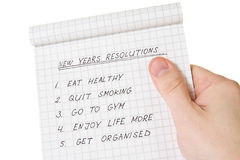 Hand holding list of resolutions Royalty Free Stock Photography
