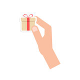 Hand holding little gift box card Royalty Free Stock Image