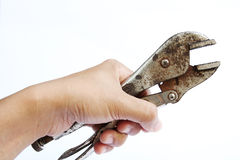 Hand Holding Locking Grip Pliers Royalty Free Stock Image