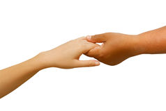 Hand holding with love between man and woman stock image