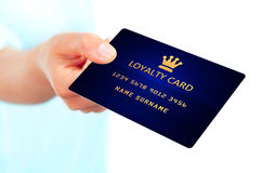 Hand holding loyalty card isolated over white Royalty Free Stock Photos