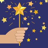Hand holding magic wand with star, vector illustration.  Royalty Free Stock Photography