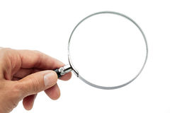 Hand Holding Magnifying Glass Stock Image